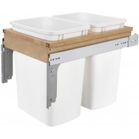 REV4WCTM-18DM2 35 Quart Pull-Out Double Waste Trash Container Bin for Base Kitchen Cabinet, White & Maple