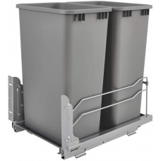 Rev-A-Shelf Double 50-Quart Under mount Kitchen Cabinet Pullout Waste Containers with Soft Close, Gray
