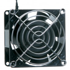 BRASS SQUARE 120V FAN BLACK W METAL GRILL