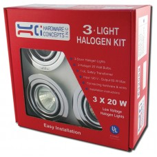 METAL 3 X 20 WATTS MR 16 HALOGEN SWIVEL LIGHT 5.32059